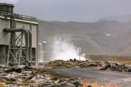 Geothermal Power Station in Iceland produces Ecology Clean energy photo
