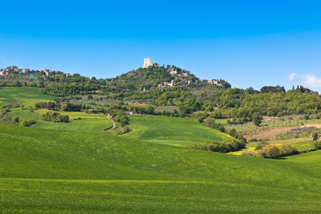 Castiglione d'Orcia town and nearest farmland view, Tuscany, Italy Stock Photo - 18516356