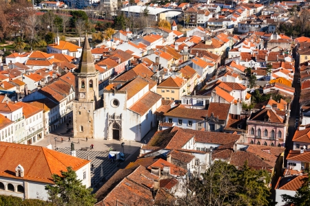 Overview of Old Town of Tomar, Portugal. Horizontal shot