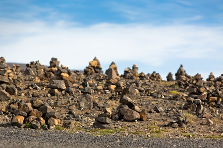 Landscape with Pyramids from stones, Iceland. Horizontal shot photo