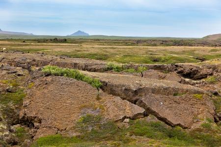 caked: Iceland Caked Lava field landscape under a blue summer sky. Horizontal shot