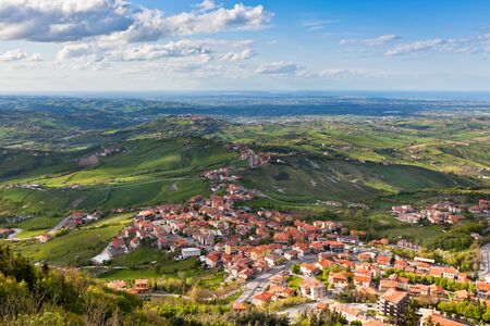 Modern San Marino Suburban districts and Italien hills view from above  Horizontal shot  Stock Photo - 18865136