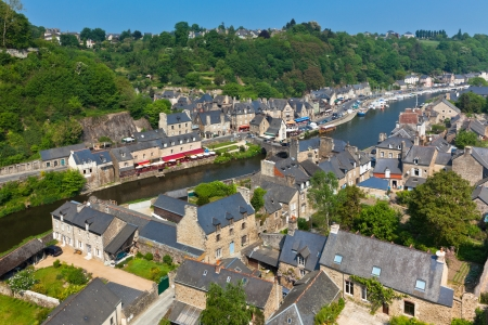 dinan: Dinan  Cotes-d Armor, Brittany, France  - Ancient town on the river  Stock Photo