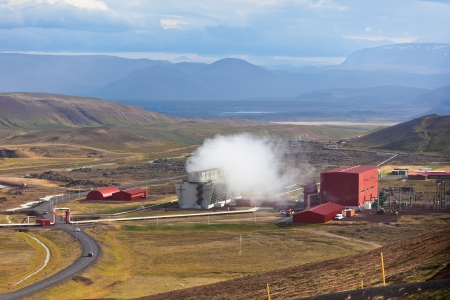 Geothermal Power Station in Iceland Mountains, Hverir photo