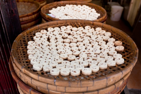 almond biscuit: Famous Traditional Macau Almond cookies production. Horizontal shot