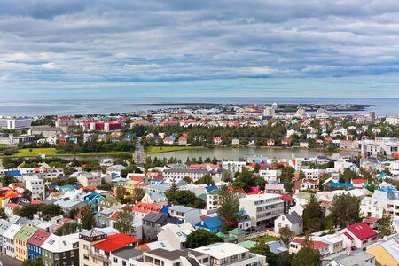 Capital of Iceland, Reykjavik, view from the Hallgrimskirkja Church Stock Photo