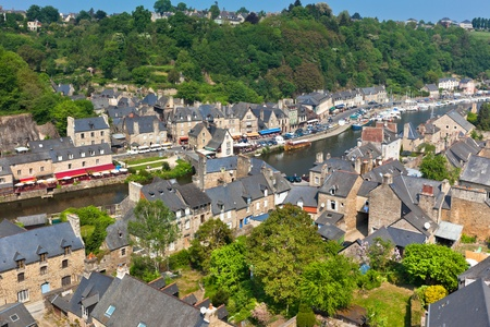 rance: Dinan (Cotes-dArmor, Brittany, France) - Ancient town on the river  Stock Photo