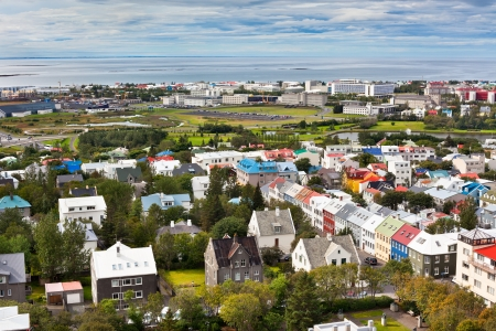 Capital of Iceland, Reykjavik, view from the Hallgrimskirkja Church Stock Photo