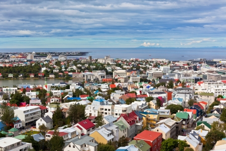 reykjavik: Capital de Islandia, Reykjavik, vista desde la Iglesia Hallgrimskirkja Foto de archivo