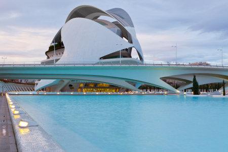 VALENCIA, SPAIN - DECEMBER 23, 2010: View of Valencia architectural complex City of Arts and Sciences (Ciudad de las Artes y las Ciencias) designed by Santiago Calatrava Stock Photo - 19133123