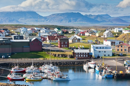 The town of Stykkisholmur, Snaefellsnes peninsula, the western part of Iceland photo