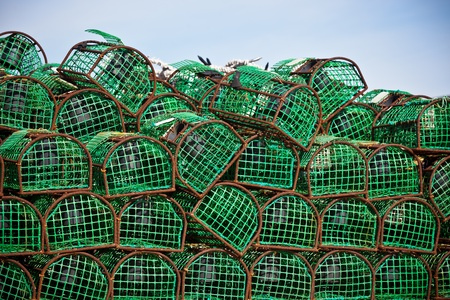 lobster pots: Lobster and Crab traps stack in a port