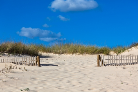 Wooden fence at sand ocean beach in Portugal  Horizontal shot Stock Photo