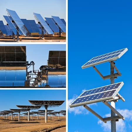 Collage of Solar panels on bright blue sky background. Renewable Energy