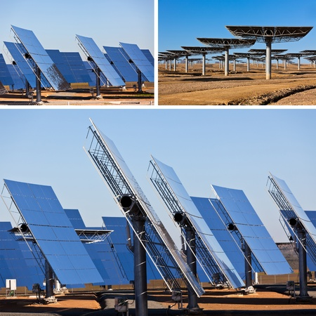 Collage of Solar panels on bright blue sky background. Renewable Energy photo