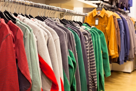 Men Clothing in Fashion Store - Fleece Shirts on the Store Rack