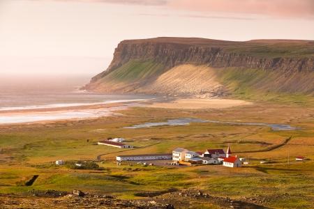 Icelandic Landscape with small Location  Breidavik  at Ocean Coastline Stock Photo - 23693192