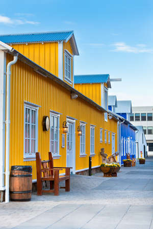 Restaurant street at small North Iceland town  Vertical shot Stock Photo - 24163534