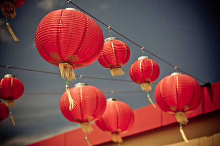 Red Chinese Paper Lanterns  Horizontal filtered shot photo