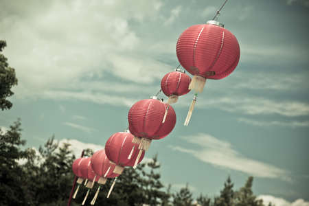 filtered: Tiro de papel roja china Faroles Horizontal filtrada