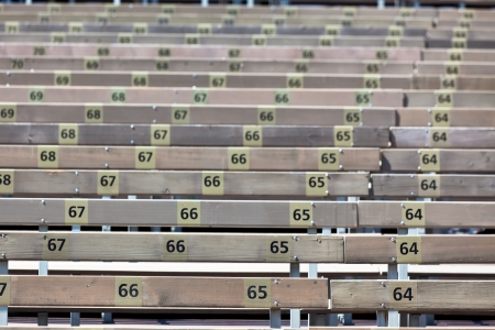 Wooden Grandstand Seats with Numbers  Horizontal shot