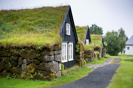 Overgrown Typical Rural Icelandic Houses at Overcast Misty Day photo