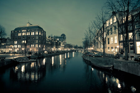 Amsterdam Canal Street view at Night  Horizontal shot photo