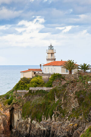northern spain: Lighthouse of Cudillero, Asturias, Northern Spain  Vertical shot