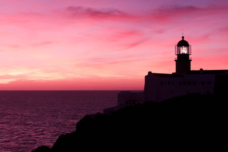 Lighthouse of Cabo Sao Vicente, Sagres, Portugal at Sunset - Farol do Cabo Sao Vicente  built in october 1851