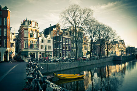 Amsterdam Canal Street view  Horizontal filtered shot photo