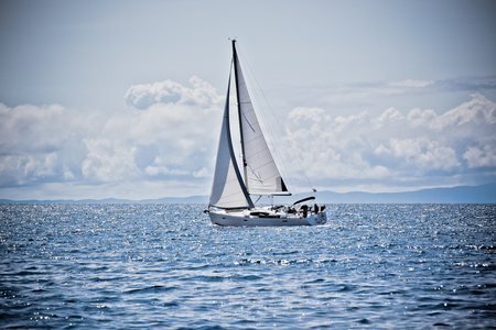 Recreational Yacht at Adriatic Sea  Filtered sunny shot photo