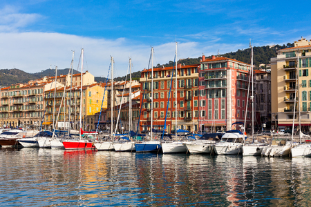 View on Port of Nice and Luxury Yachts, French Riviera, France photo