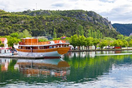 Touristic boat in Skradin, Croatia  Horizontal day shot photo