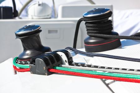 Winches and ropes, yacht detail  Close up horizontal shot photo