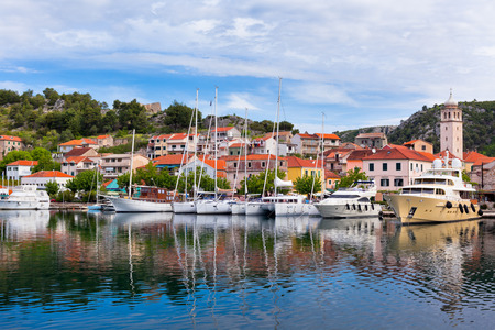Skradin is a small historic town and harbour on the Adriatic coast and Krka river in Croatia photo
