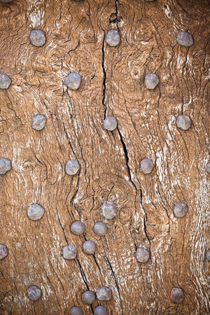 Wooden surface with old metal rivets background. Horizontal shot photo