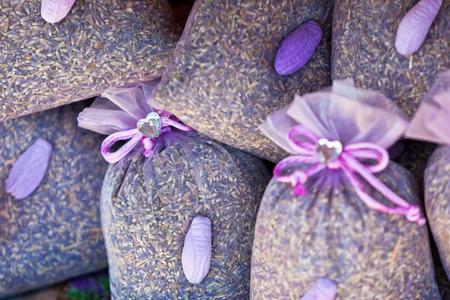 sachets: Dried lavender sachets basket. Horizontal shot