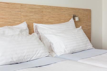 Prepared fresh bed, scene in hotel room