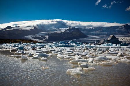 vignetted: Jokulsarlon Glacier Lagoon in Vatnajokull National Park, Iceland. Horizontal vignetted shot Stock Photo