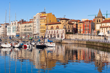 View on Old Port of Gijon and Yachts, Asturias, Northern Spain. Sunny day