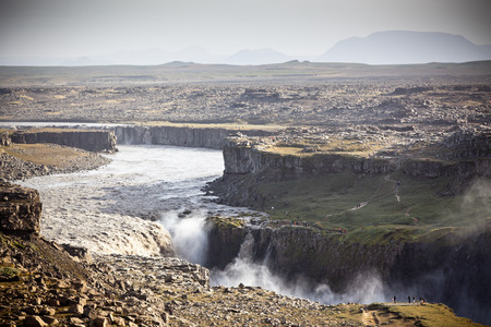 waterfall  dirty: Dettifoss Waterfall in Iceland at overcast weather.