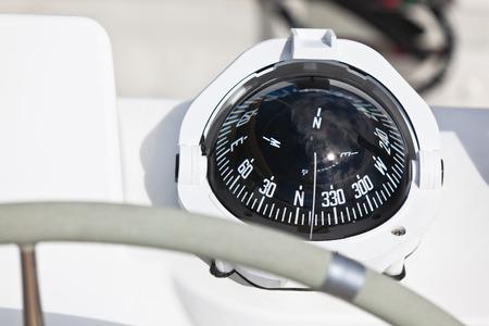 Sailing yacht compass. Horizontal close up shot