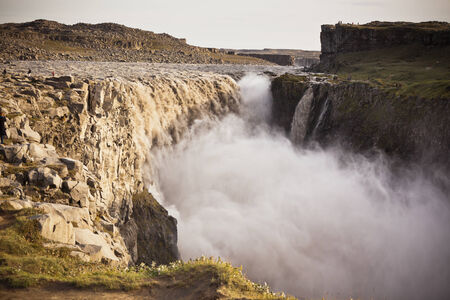 waterfall  dirty: Dettifoss Waterfall in Iceland at overcast weather. Horizontal shot