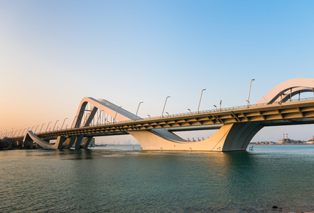 modern bridge: Sheikh Zayed Bridge, Abu Dhabi, United Arab Emirates. Horizontal shot