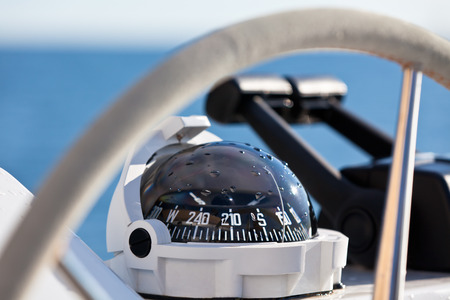 boat: Sailing yacht control wheel and implement. Horizontal shot without people Stock Photo
