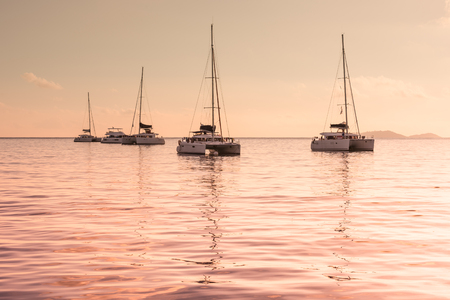 recreational: Recreational Yachts at the Indian Ocean. Beautiful sunset Stock Photo