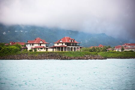 overcast: View of Eden Island, Mahe, Seychelles at overcast weather