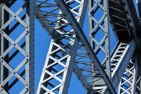 steel arch bridge: Modern Bridge frame closeup. Horizontal image Stock Photo