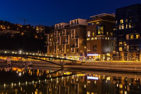 architectural lighting design: FRANCE, LYON - FEBRUARY 19: The Confluence District in Lyon, France on February 19, 2013. New district with an modern architecture in the place of the old port. Night shot