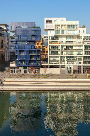 confluence: FRANCE, LYON - FEBRUARY 19: The Confluence District in Lyon, France on February 19, 2013. New district with an modern architecture in the place of the old port Editorial